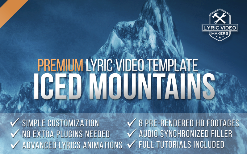 Premium lyric video template iced mountains how to for After effects lyric video template